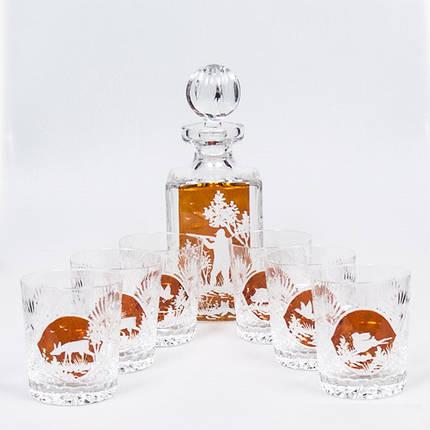 Графин хрустальный 750 мл + 6 бокалов для виски 300 мл Julia Охота CF4975, фото 2