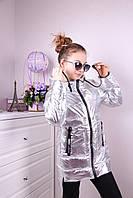 Подростковая деми куртка на девочку р. 140-164 серебро, фото 1
