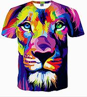 Яркая качественная 3D Lion modern art футболка размер L  на подростка