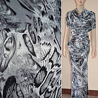 Атласная ткань стрейч светло серая абстрактный рисунок рептилии атлас