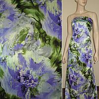 Атласная ткань стрейч серый зеленая с фиолетовая  боль цветами атлас