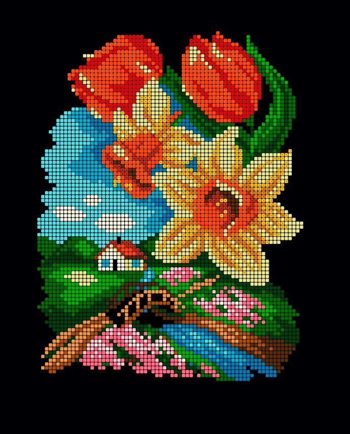 Схема для вишивки та вишивання бісером Бисерок «Весна» (A4) 20x25 (ЧВ-3179(10))
