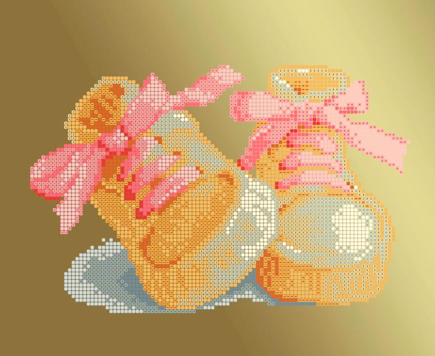 Схема для вишивки та вишивання бісером Бисерок «Черевички рожеві» (A4) 20x25 (ЧВ-3177-Р (10))