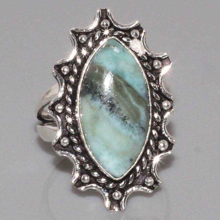 Ларимар кольцо с натуральным ларимаром Доминикана в серебре 19.5 размер