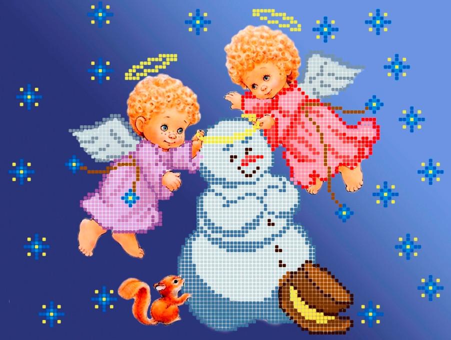 Схема для вишивки та вишивання бісером Бисерок «Сніговик і янголята» (A4) 20x25 (ЧВ-3197(10))