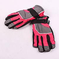 Детские лыжные перчатки с довязом серо-малиновые PZ-03-35-2