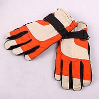 Детские лыжные перчатки с довязом бежево-оранжевые PZ-03-35-6