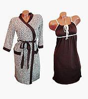 🌺 Комплекты для кормящих, халат и ночная. Леопардовый принт., фото 1