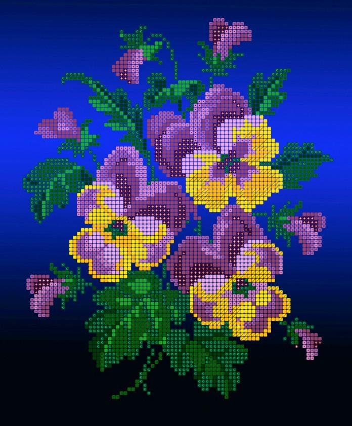 Схема для вишивки та вишивання бісером Бисерок квіти «Братики» (A4) 20x25 (ЧВ-3193(10))