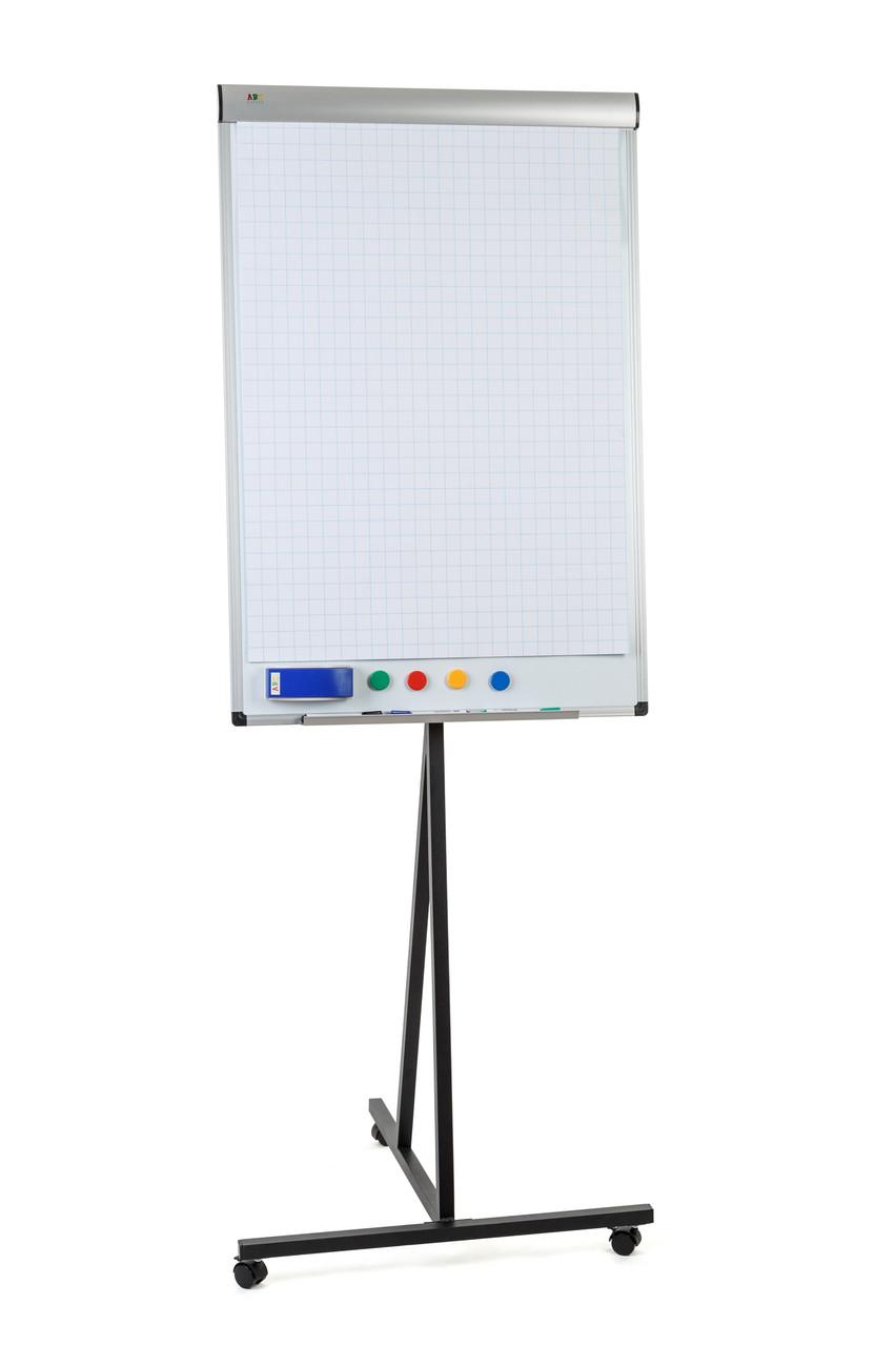 Флипчарт Mobile 70х100 см магнитно-маркерный на колесиках с регулируемым держателем для бумаги