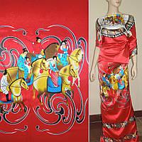 Атласная ткань стрейч красная рапорт восторонний девуш на лошади атлас