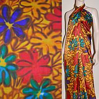Атласная ткань стрейч желтая фиолетовая  красный бирюзов цветы атлас