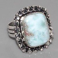 Кольцо с натуральным ларимаром (Доминикана). Кольцо с камнем ларимар в серебре., фото 1