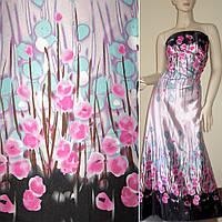 Атласная ткань стрейч розовая голубой двухстороняя черный купон в цветы атлас