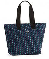 Стильная двуручная женская сумка на молнии Kipling Lacquer Night из текстиля, синий-голубой ромб K14350_M04