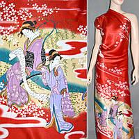 Атласная ткань стрейч красная купон с восточная девушками атлас
