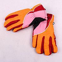 Детские лыжные перчатки с довязом оранжево-розовые PZ-03-36-4