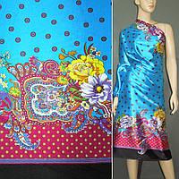 Атласная ткань стрейч голубой двухстороняя черно малин купон в цветы атлас