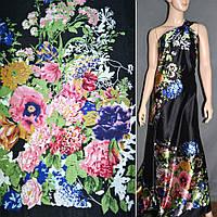 Атласная ткань стрейч черная двухстороняя купон в мелкие цветы атлас