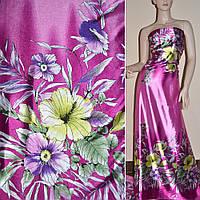 Атласная ткань стрейч сиреневая двухстороняя куп в большие цветы атлас