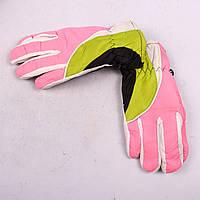 Детские лыжные перчатки с довязом розово-зеленые PZ-03-36-2