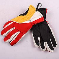 Детские лыжные перчатки с довязом красно-желтые PZ-03-36-3