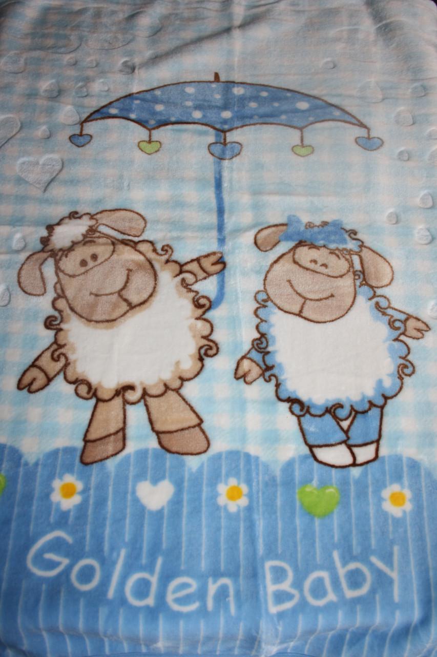 Турецкий пледик - одеялко для детей  Golden spring (голубой с овечками)
