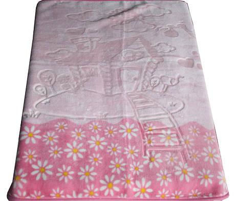 Турецкий пледик - одеялко для детей  Golden spring (розовый с ромашками), фото 2