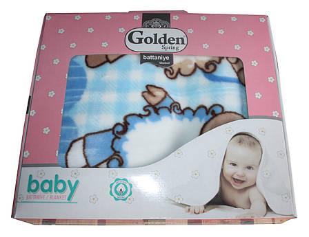 Турецкий пледик - одеялко для детей  Golden spring (голубой с ромашками), фото 2