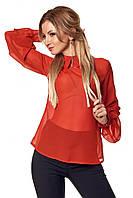 Женская шифоновая блуза кирпичного цвета с длинным рукавом. Модель 412