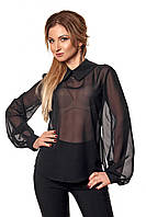 Женская шифоновая блуза черного цвета с длинным рукавом. Модель 412