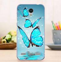 Чехол силиконовый бампер для ZTE Blade A520 с картинкой Три бабочки