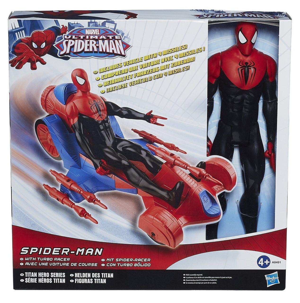 Автомобиль Человека Паука с фигуркой, серия Титаны - Spider-Man Turbo Racer, Titans, 30СМ, Hasbro