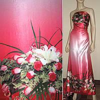 Атласная ткань стрейч розовая с х сторон купоном розы атлас