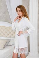 Романтичный халатик из трикотажа с красивым кружевом Белый , фото 1