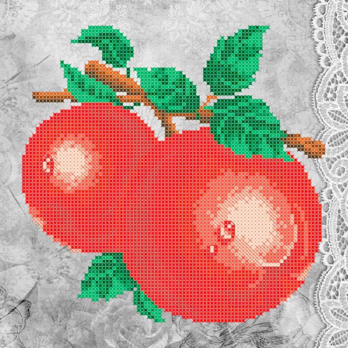 Схема для вишивки та вишивання бісером Бисерок «Червоні яблука» (A4) 20x25 (ЧВ-3322(10))