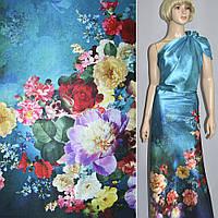 Атласная ткань стрейч сине черная с одностор купон цветы атлас