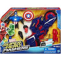 Набор Капитан Америка + мотоцикл (Машерс/шенковщики) - Captain America, Mashers, Marvel,Hasbro, фото 1