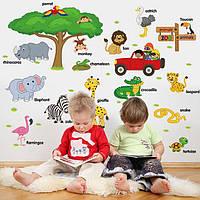Детская наклейка на стену Животные на английском языке