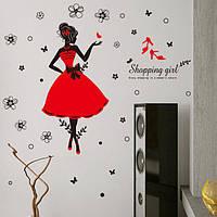 Декоративная наклейка на стену Девушка шопинг