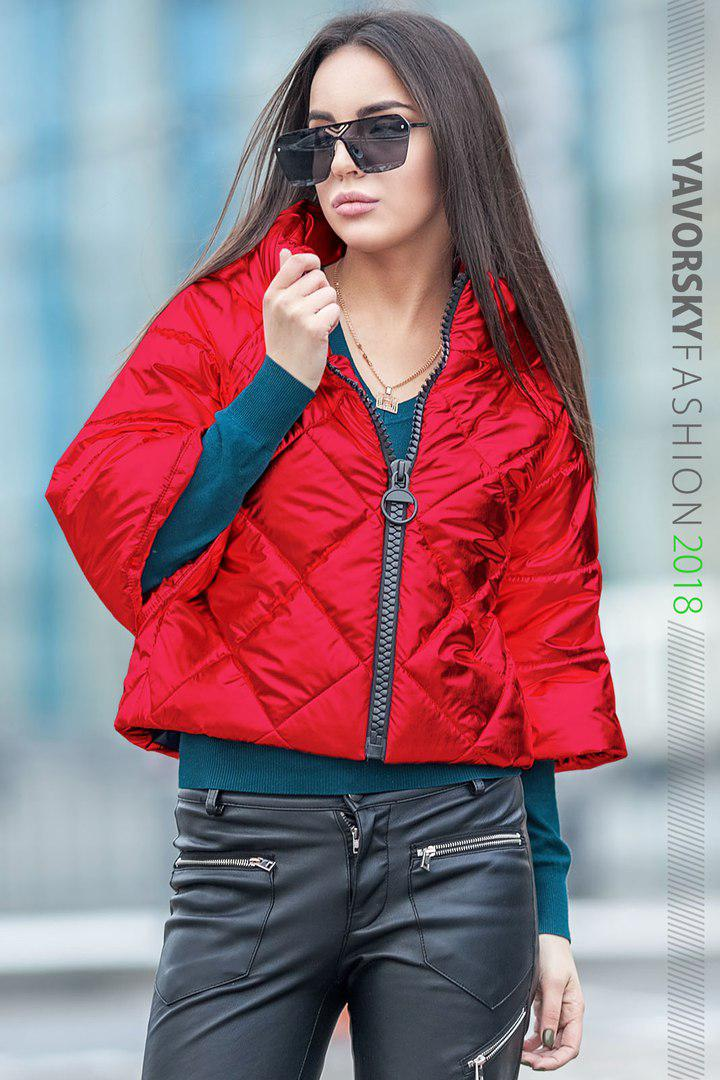 Куртка из перламутровой плащевки  цвет красный
