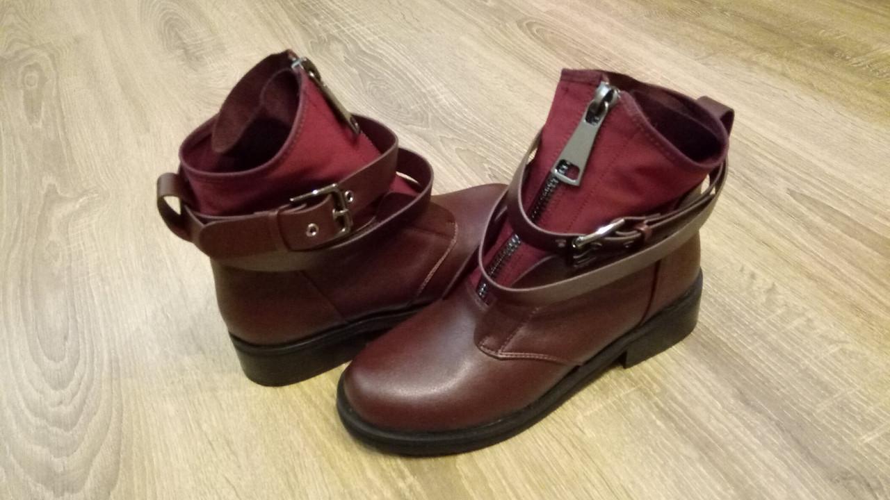 Женские демисезонные ботинки бордо