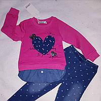 Комплект туника-обманка с пайетками на две стороны с джинсовыми лосинами для девочки 7 лет