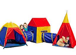 Палатка детская игровая с тоннелем 5 в 1 (домик-палатка с туннелем, вигвам)