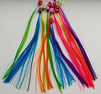 Цветные искусственные пряди волос на клипсах/заколках 12 штук в упаковке
