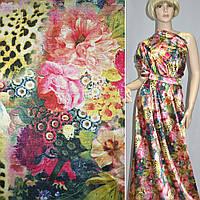 Атласная ткань стрейч розовая золотемно с цветами леопард (принт) атлас