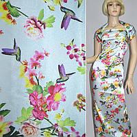 Атласная ткань стрейч бледно голубой с разноцветные цветами и птицами (принт) атлас