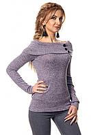 Женская трикотажная кофточка с открытыми плечами сиреневого цвета. Модель 403 SL