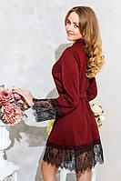 Модный домашний халат женский из трикотажа Бордовый , фото 1