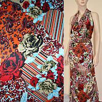 Атласная ткань стрейч бежевая с красный оранж цветами в пол атлас